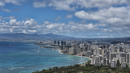 Stunning views from the volcanic cone, Diamond Head, towards Waikiki beach, Honolulu, Oahu Island, Hawaii, USA