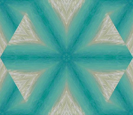 Abstract background with geometric kaleidoscopic design obtained from ocean, sand at waves on a tropical seashore in the Caribbeans