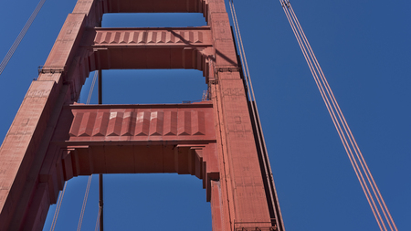 Art Deco details of south tower of the iconic Golden Gate Bridge, seen from the walkway, San Francisco, California, USA Reklamní fotografie