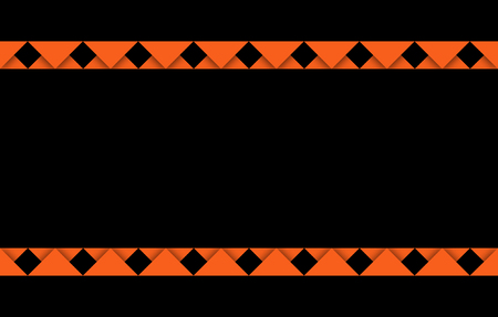 Orange banner with copy space and orange ribbon-like edges above and below, a festive graphic resource set against a black background, concept for holidays, spooky banner, note or poster