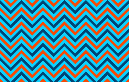 Eye-pleasing abstract chevron lines in orange, blue and light blue, graphic resource as abstract background, textile print, wallpaper and geometric inspiration