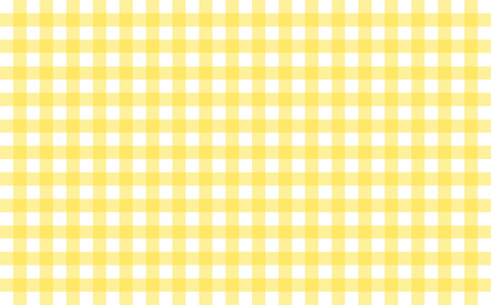 Gingham-like table cloth with banana yellow and white checks. Symmetrical overlapping stripes in a single solid color against white background, similar to a table or a dish cloth, or a picnic napkin Stock Photo