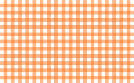 Gingham-like table cloth with pumpkin orange and white checks. Symmetrical overlapping stripes in a single solid color against white background, similar to a table or a dish cloth, or a picnic napkin