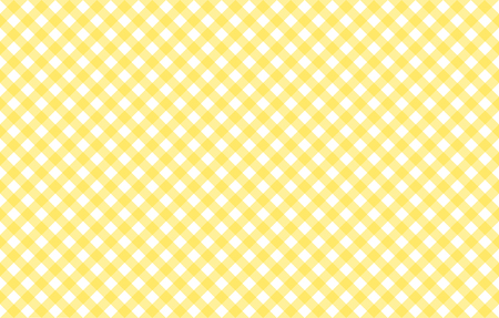 Diagonal Gingham-like table cloth with banana yellow and white checks. Symmetrical overlapping stripes in a single solid color against white background, similar to a table cloth, or a picnic napkin