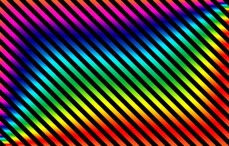 Diagonal gradient rainbow stripes with black background, graphic resource as abstract pattern, textile print, wallpaper and geometric inspiration 写真素材
