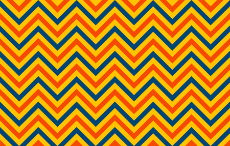 Retro chromatic pattern of chevron lines in orange and blue against a yellow background, graphic resource as abstract background, textile print, wallpaper and geometric inspiration