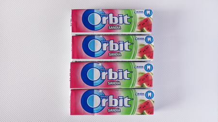 Orbit Chewing Gum, Tenerife, Canary Islands, Spain - September 24, 2018: Wrigleys Orbit Chewing Gum four lined up packs of special watermelon or sandia flavors, a Spanish edition of sugar free gum Editorial