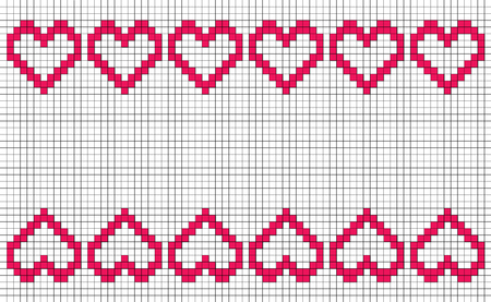 Patchwork or cross stitch pattern with six hearts in a row mirroring top and bottom, with copy space and white background, seamless design of symmetrically placed pixel-like hearts