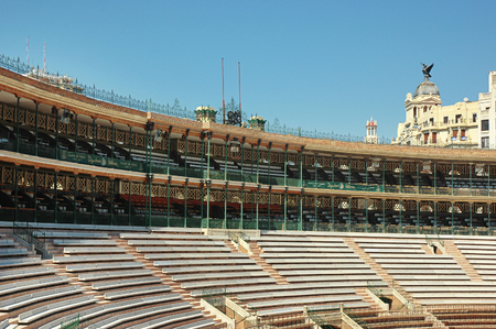 Plaza de Toros de Valencia, a bullring in Valencia, Spain - September 11, 2011: bullring in architectural style similar to the Roman Colosseum, now an arena for concerts, outdoor shows and festivals