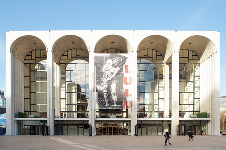 Metropolitan Opera House New York City, USA - November 18, 2015: entrance view of the Met Opera House, on Broadway at Lincoln Square, on the Upper West Side, with a poster of Alban Berg's Éditoriale