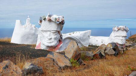 Homenaje a la bajada also known as Bajada de la Virgen de los Reyes, Valverde, El Hierro, Canary Islands, Spain - June 10, 2018: open-air sculpture created by Ruben Armiche, out of recycled materials