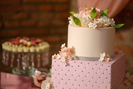 Large assortment of bite-sized cakes and a large three tiered cake embellished with velvet icing and sugar flowers, delicious dessert display at a wedding reception, a birthday party or a formal event