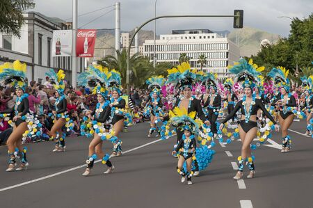 Carnival Santa Cruz de Tenerife, Canary Islands, Spain - February 17, 2015: costumed participants dancing, marching and announcing the beginning of the popular event held yearly in spring in Tenerife