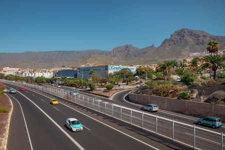 Centro Commercial Gran Sur, Costa Adeje, Tenerife, Canary Islands, Spain - November 11, 2019: above views of busy dual carriageway passing by the popular shopping mall based in the south of the island