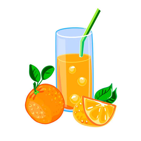 짚, 전체 오렌지와 오렌지 슬라이스 신선한 오렌지 주스의 유리. 색 벡터 일러스트 레이 션.