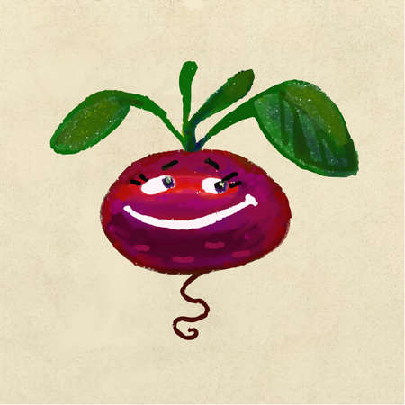 beets: Cheerful and happy vegetable root beets Illustration