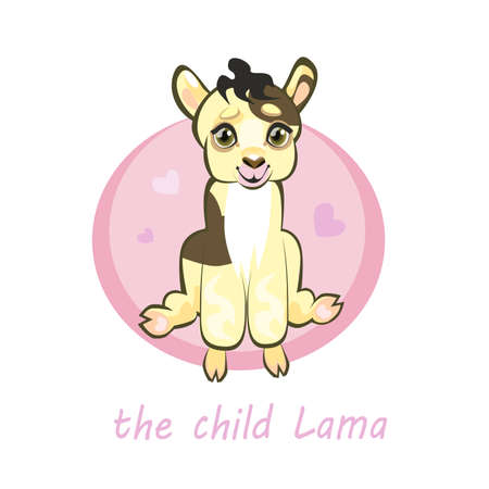 llama: Little baby llama Alpaca, cute cartoon character, pink background with hearts, vector print.