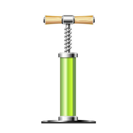 one wheel bike: Pump, bright green metal with a wooden handle. Vector illustration. The icon is a hand pump.
