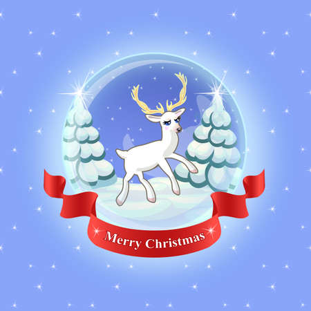 snowcovered: Deer and tree in glass ball with snow. Snow-covered spruce trees and the stars. The inscription on the red ribbon With merry Christmas Illustration