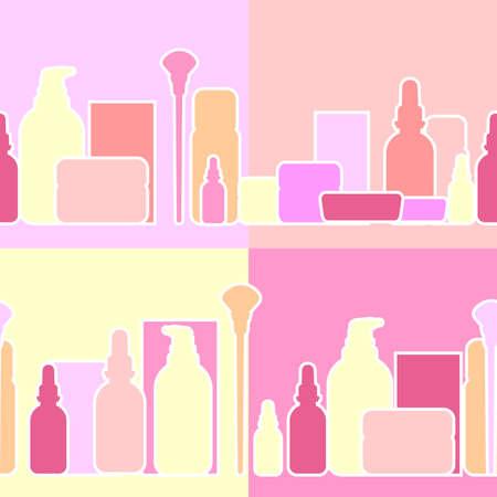 cremas faciales: Botellas y cremas para la industria de la belleza, ilustraci�n vectorial, fondo sin fisuras horizontales. preparaciones cosm�ticas para la belleza y la salud en el estado estirado.