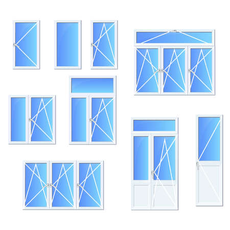catalogs: White plastic Windows and window systems with isolated high quality vector set for web and printed catalogs, descriptions and instructions. Vector icons set.