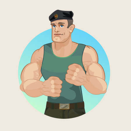 sexy army: Strong muscular military man, a Sergeant in uniform and a beret. Huge fists and muscular arms, pugilism, strength and courage. Mountain muscle, Russian soldier, the paratrooper.