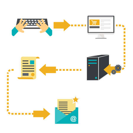 troubleshooting: Enter the document data, data processing service. Troubleshooting and optimization of documentation, assistance in filling out business forms and documents. Illustration in vector, flat style. Illustration