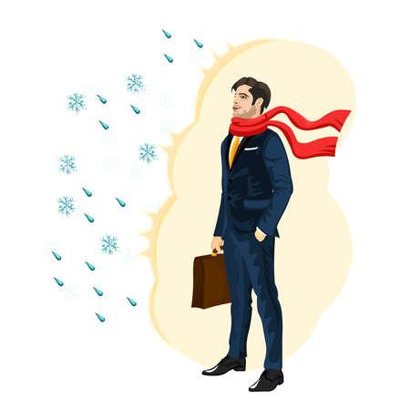 El hombre fuerte de negocios de la inmunidad, la oposición a las malas condiciones meteorológicas, la salud en la gran ciudad, un carácter fuerte. apuesto hombre en un traje de negocios y una bufanda, con un maletín, ilustración vectorial