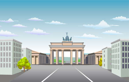 east berlin: Brandenburg Gate of Germany. National symbols. It is built on the site of a former city gate that marked the start of the road from Berlin to the town. Illustration of square and buildings in vector. Illustration