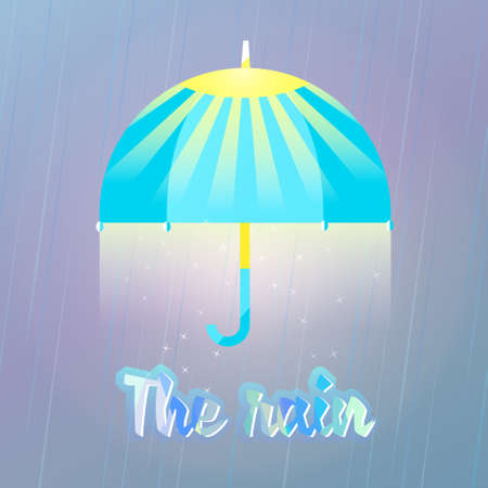 meteorology: To walk under the great umbrella, love rain. illustration of umbrella in the rain. The umbrella with the sun. Sun and warm rain good weather.