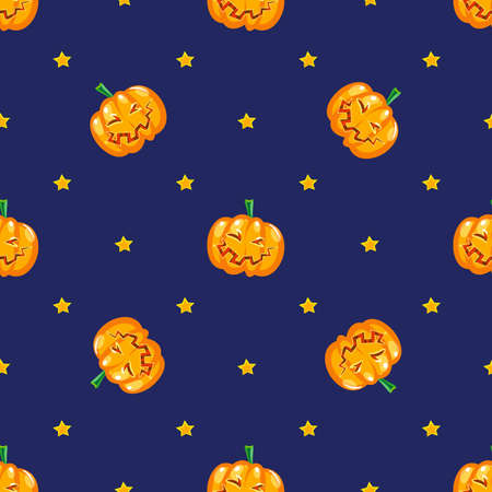 all in: Seamless pattern in vector funny ripe pumpkin on a dark starry sky. Design for print or design of the feast of All saints