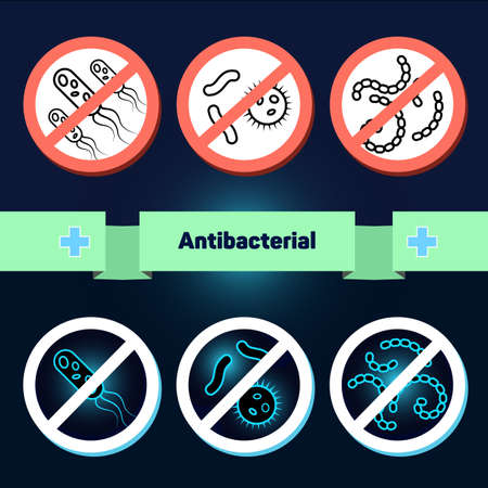 antibacterial: Antibacterial coating, the coating must be sterile, do not touch, clean, safe, no germs, antimicrobial set of icons for instructions and labels.