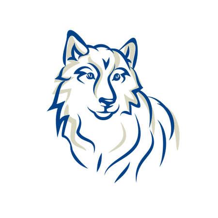 Sneeuwwitje wolf, Malamute, Siberische husky, hond is vriendelijk en sympathiek, staand op de schouders of tatoeage, vector