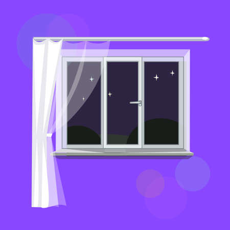 overlooking: Insulated plastic white window in the apartment, overlooking the night. Pure night sky, light curtains, empty windowsill. Vector illustration. Illustration