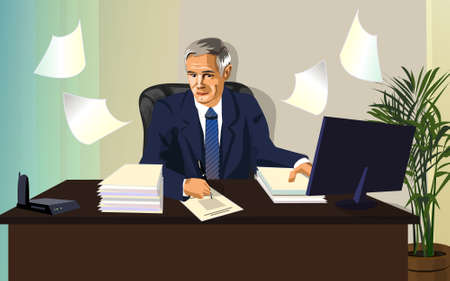 Vector illustration, man,official,white collar, occupied a large and important paperwork. The civil servant or the official Manager, the strict style. Stock Illustratie