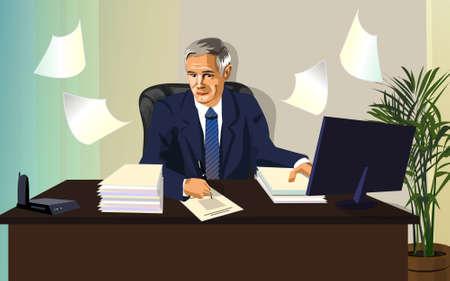 Vector illustratie, man, ambtenaar, witte kraag, bezet een grote en belangrijke papieren. De ambtenaar of de officiële Manager, de strenge stijl.