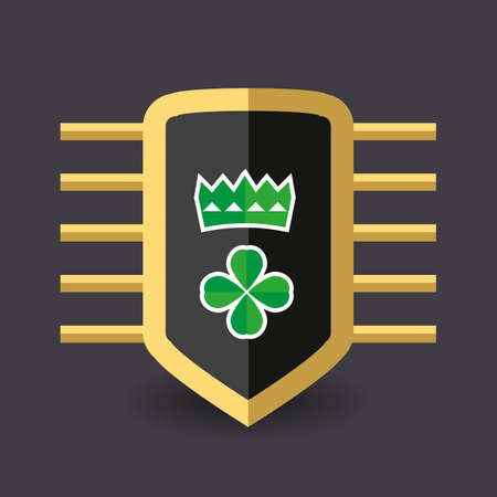 green it: Magic shield on it spring green crown and a quatrefoil clover for good luck. vector illustration for St. Patricks day. Illustration