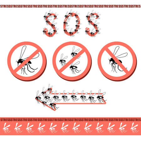 mosquitoes: No pesky mosquitoes in the house. Attack mosquitoes, biting insects, sucking human blood, insect. Prohibitory sign. Specializing in the extermination mosquitoes and sandflies, illustration in vector