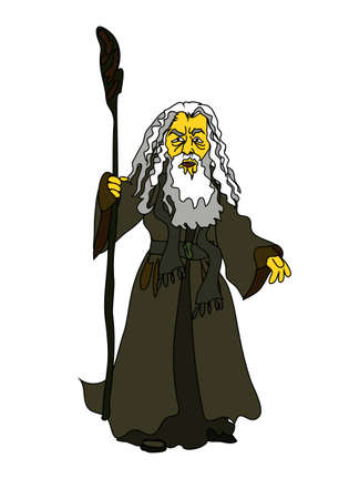 parting the sea: A magician, a sage old man or the character of the biblical Moses in the vector. Comical cartoon graphics. Illustration