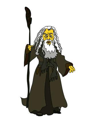 Magik, mędrzec stary człowiek lub postać z biblijnych Mojżesza w wektorze. Komiczny grafiki kreskówek.
