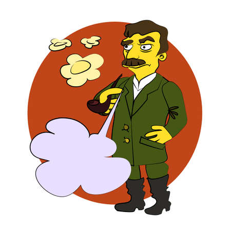 stalin: The character of Stalin Smoking a pipe, blowing smoke rings, he glares, with a blank bubble for your text. Comic cartoon vector illustration.