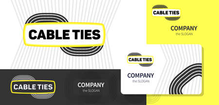 dealing: Logo and corporate style, business card for a company dealing with wire cables and accessories. The clear lines bright colors. Vector.