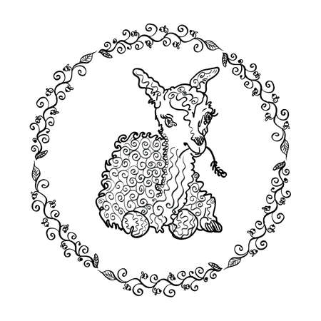vegetative: Lamb drawn by a marker in a frame of a vegetative ornament.  Character llama or a lamb and floral ornament.