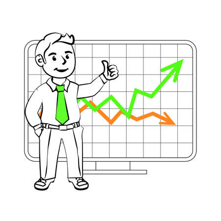 trader: The graphics in the vector. Happy SIM trader. Design for presentations, showing success. Stock graph, sales growth or the cost of the assets on the exchange. Illustration