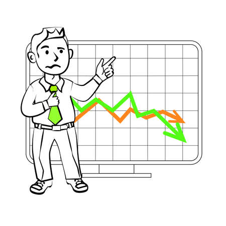trader: Experiencing emotional character of the trader. Design for a presentation showing the situation. Stock graph, the decline in sales or reduction in the value of assets on the exchange. Illustration