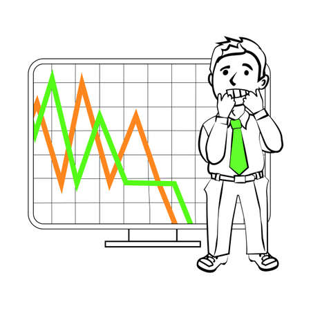 stock trader: Experiencing emotional character of the trader. Design for a presentation showing the situation. Stock graph, the decline in sales or reduction in the value of assets on the exchange. Illustration