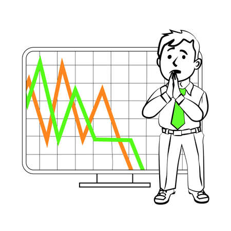 trader: The graphics in the vector. Praying the character of the trader. Design for a presentation showing the situation. Stock graph, the decline in sales or reduction in the value of assets on the exchange.