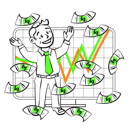 trader: The graphics in the vector. Happy SIM trader catch money. Design for presentations, showing success. Stock graph, growth, high sales or an increase in the value of assets on the exchange.