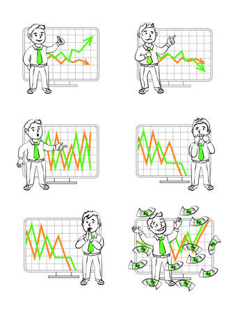 foreign exchange rates: Graphics in vector. Human emotions. The monitoring of income. Illustrations for presentations and shows.