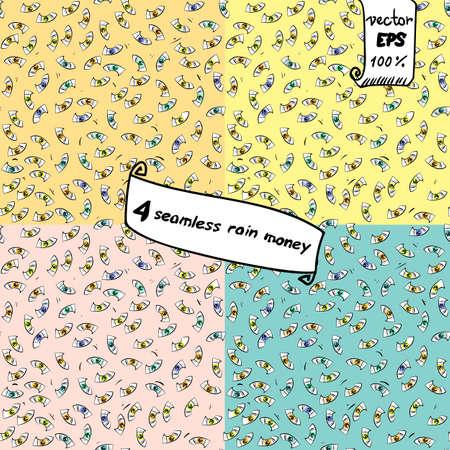 fall down: Seamless vector pattern. Cartoon money fall down like rain. For fashion design or packaging, hand-drawn. European banknotes big lot.